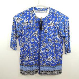 EUC Susan Graver Womens Floral Print Blouse Size1X